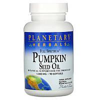 Planetary Herbals, Гарбузова олія з повним спектром активних речовин, 1000 мг, 90 гельових капсул