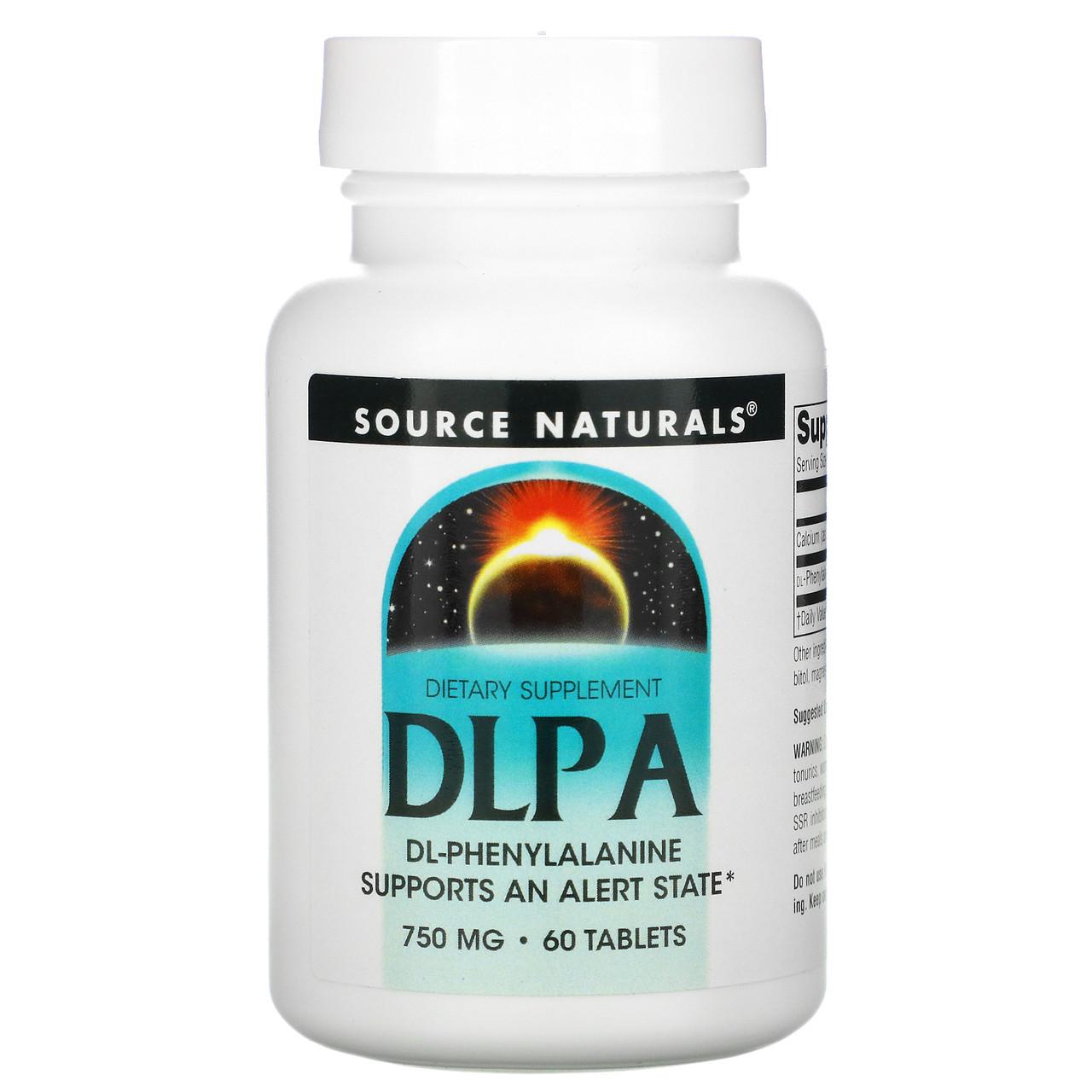 DL-Фенилаланин, DLPA, Source Naturals, 750 мг, 60 таблеток.