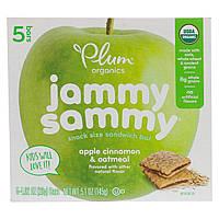 Plum Organics, Kids, Organic Jammy Sammy, органические батончики, яблоко, корица и овсянка, 5 батончиков по 1,03 унции (29 г) каждый, фото 1