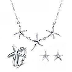 Красивий жіночий комплект біжутерії (кольє, сережки, кільце) Морські зірки покриття срібло 925