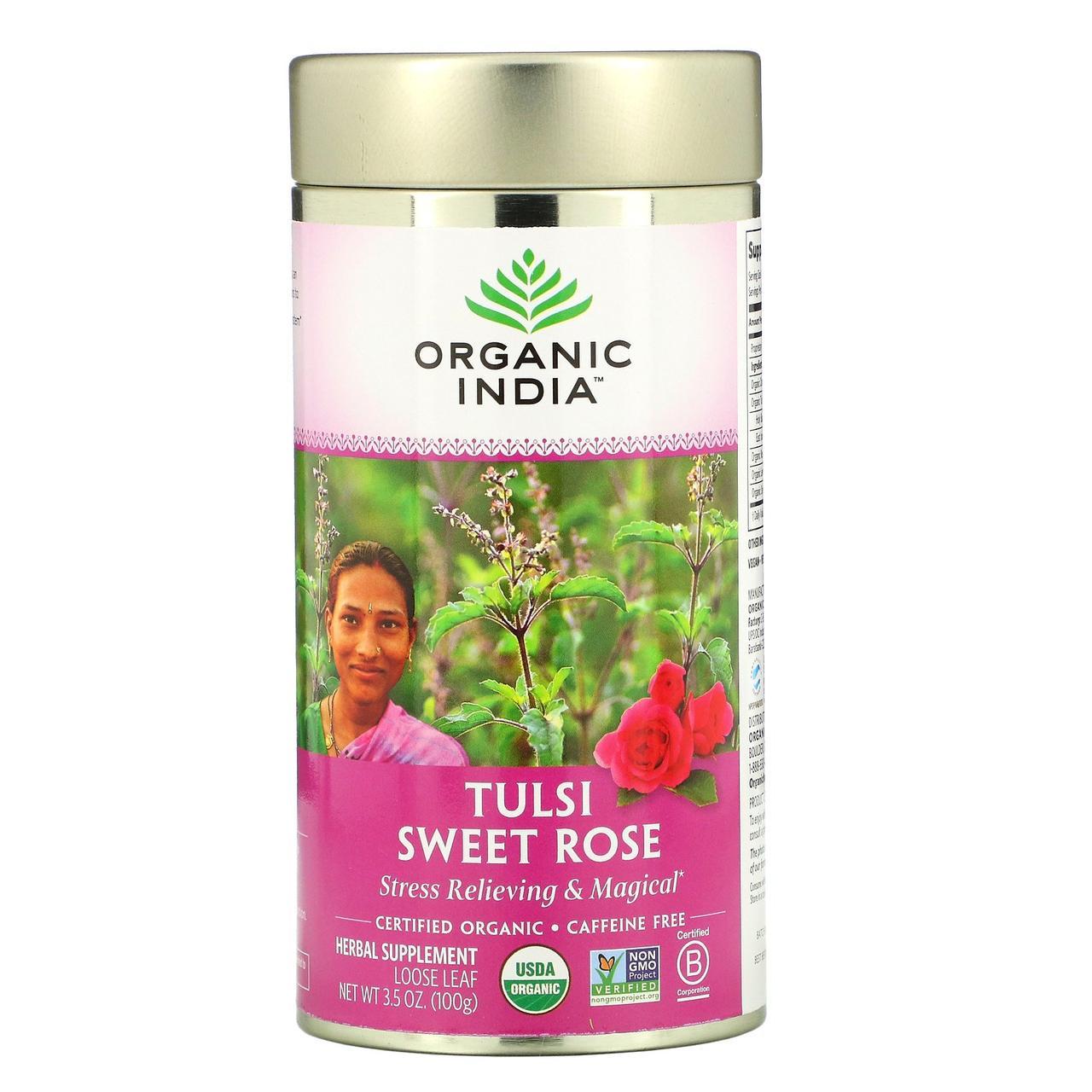 Organic India, Листовий чай туласі, солодка троянда, без кофеїну, 3,5 унції (100 г)