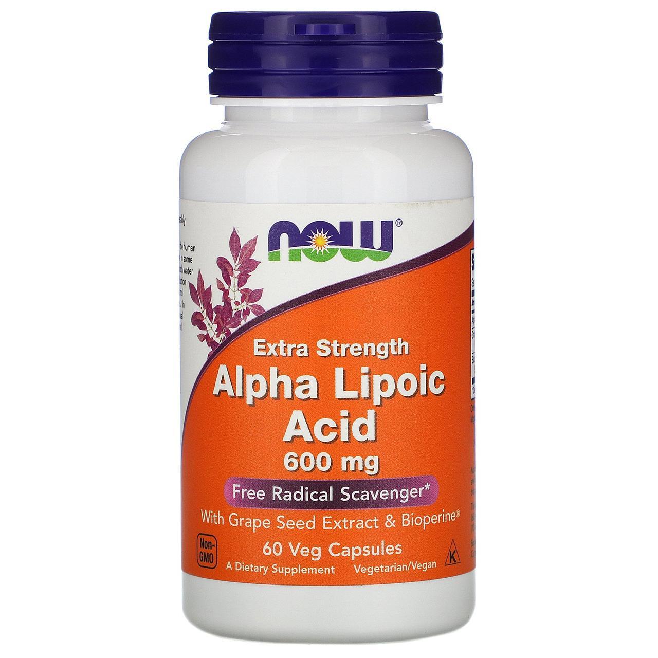 Альфа Ліпоєва Кислота, Now Foods, Alpha Lipoic Acid, 600 мг, 60 капсул