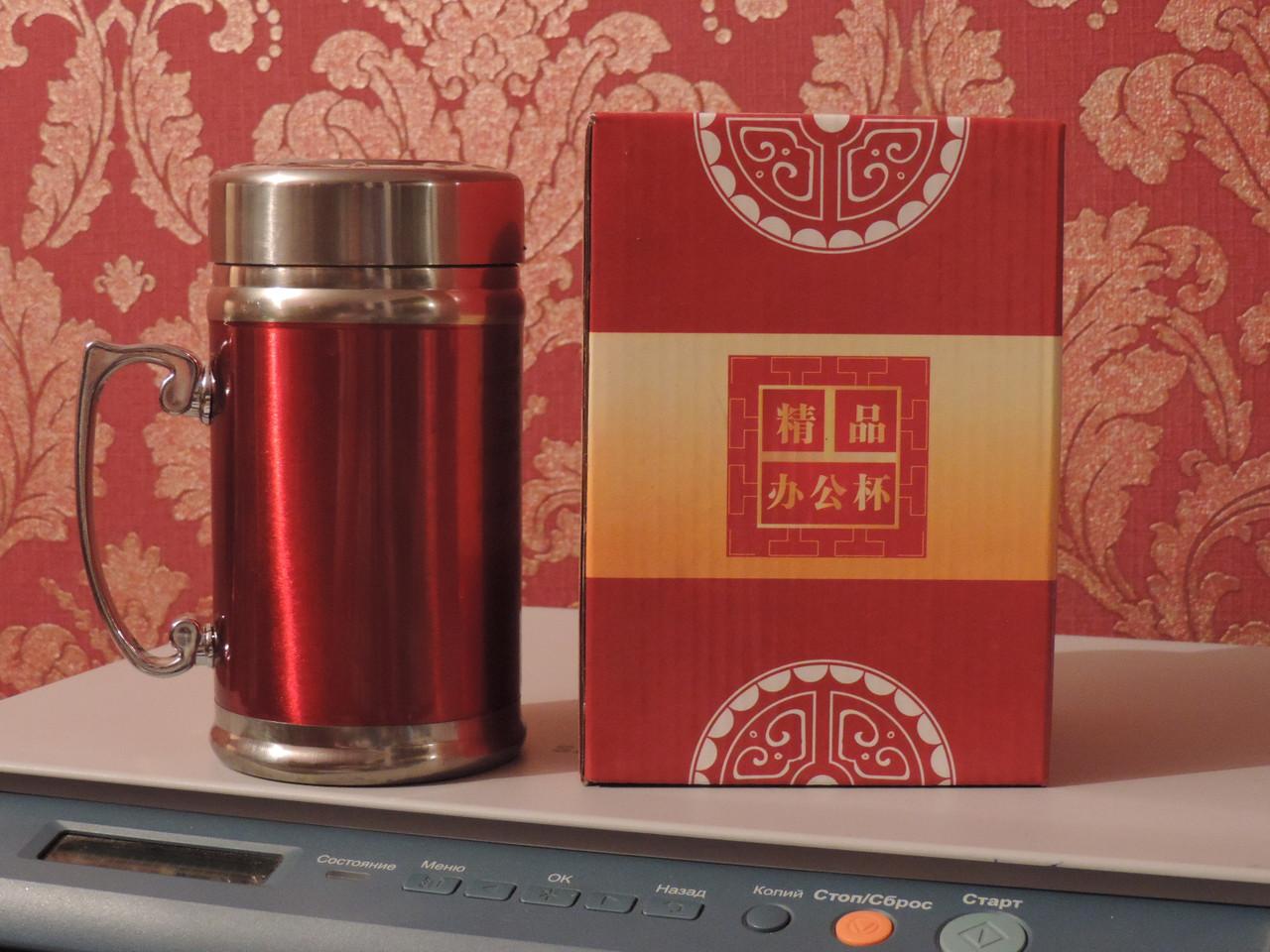 """Термокружка  с двойными стенками и ситечком для заварки """"Office Cup"""" - 400 мл. Нержавейка."""