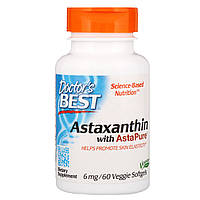 Doctor's Best, Астаксантин с AstaPure, 6 мг, 60 вегетарианских мягких капсул