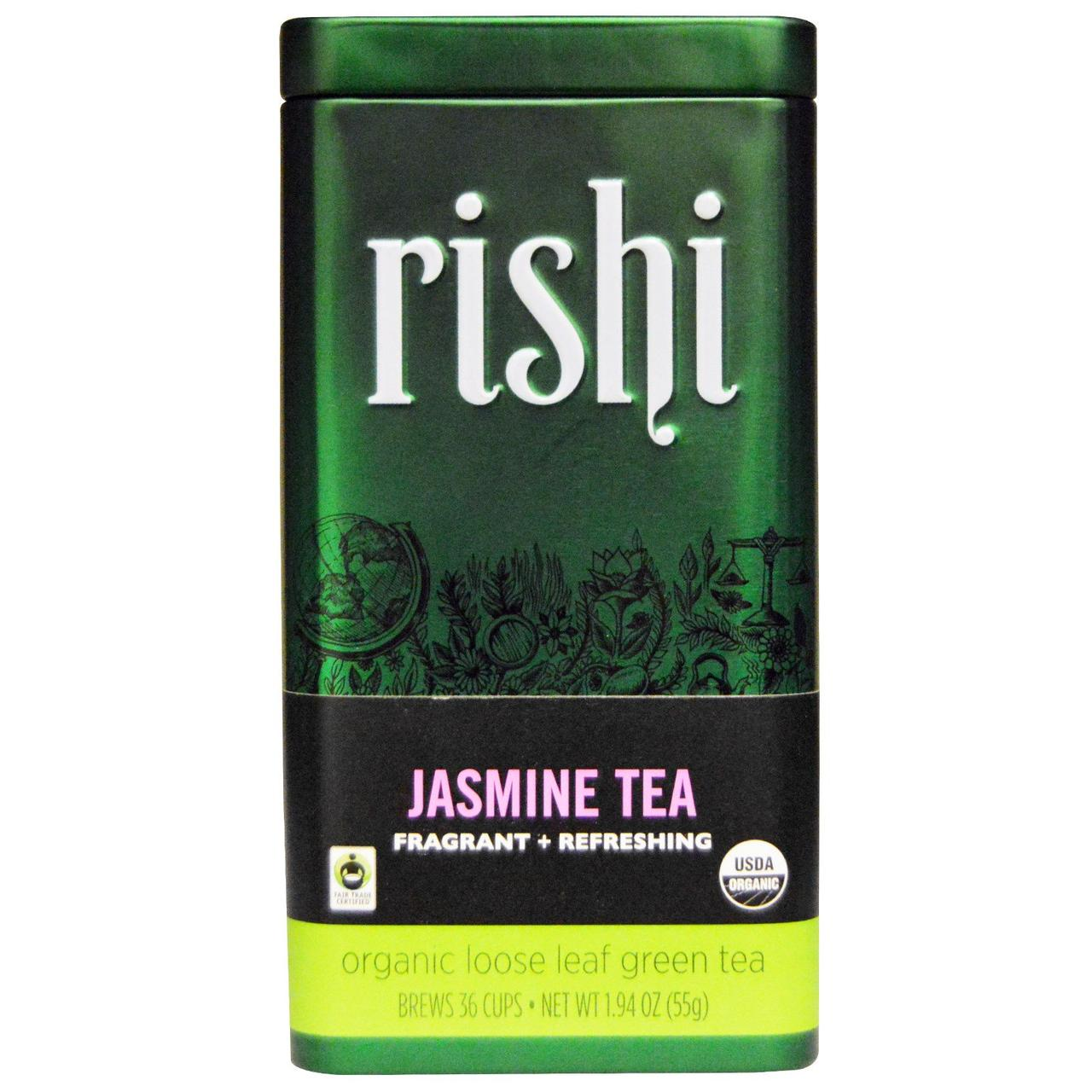 Rishi Tea, Органічний зелений листовий чай, жасмин, 1,94 унції (55 г)