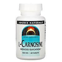 L-Карнозин, 500 мг, 60 таблеток, Source Naturals, США