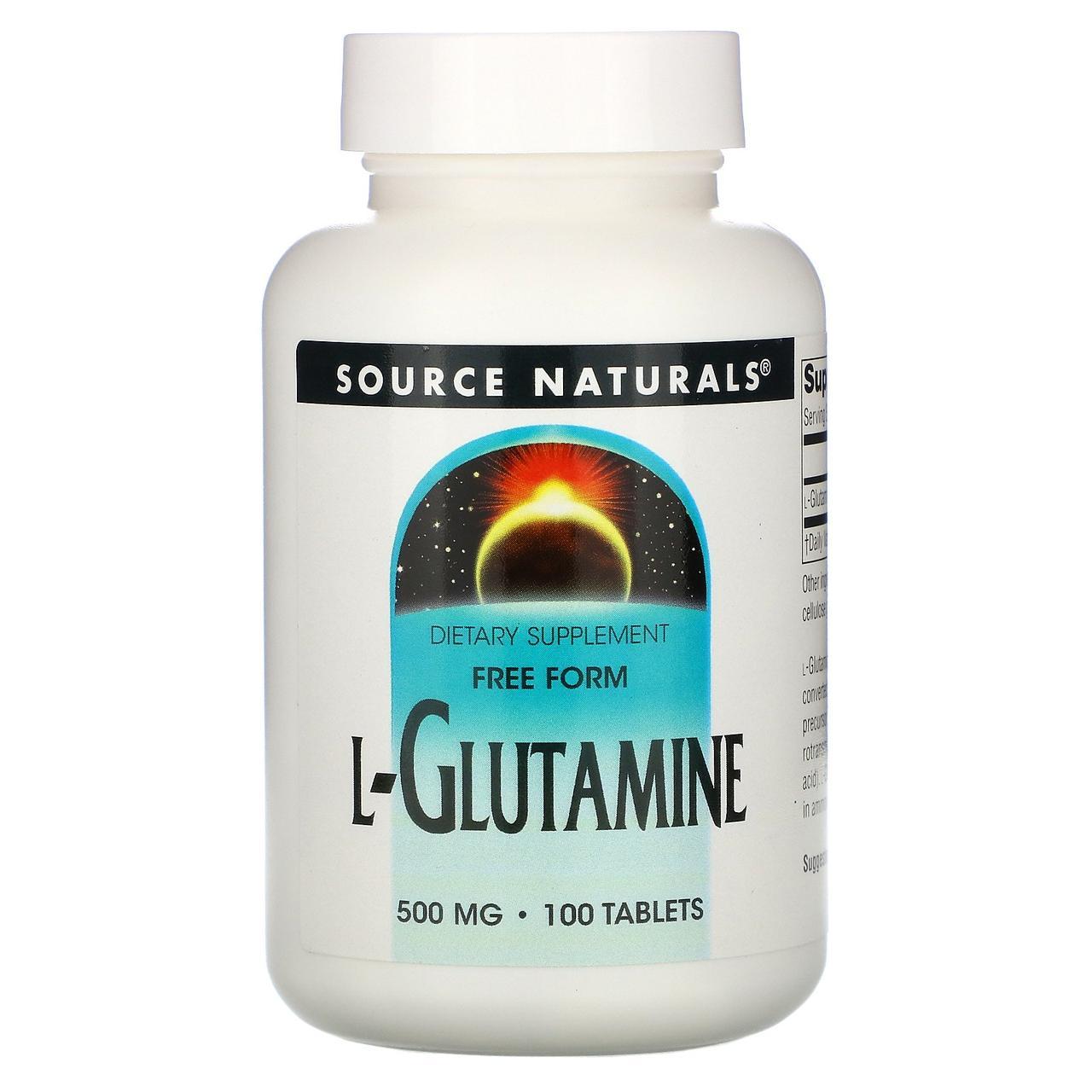 L-Глютамин, L-Glutamine, Source Naturals, 500 мг, 100 таблеток
