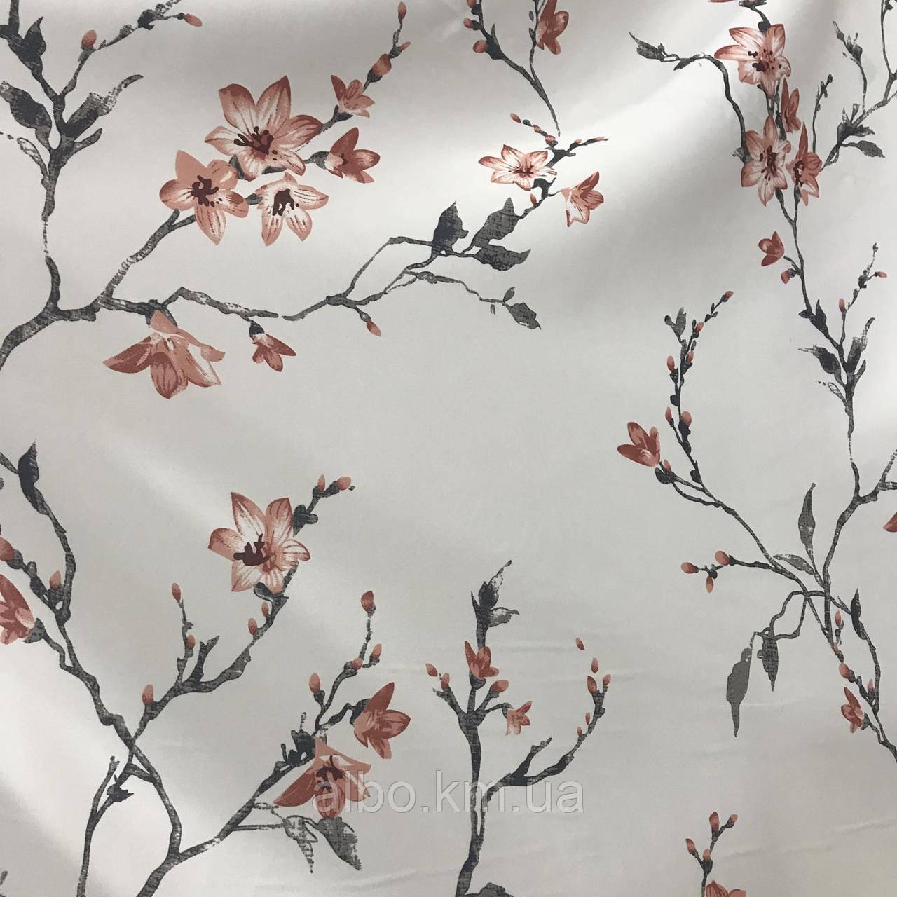 Щільна атласна шторна тканина з квітами, висота 2.8 м на метраж (611-7)
