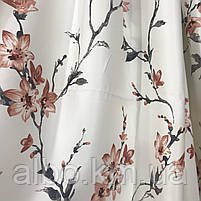 Щільна атласна шторна тканина з квітами, висота 2.8 м на метраж (611-7), фото 2