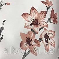Щільна атласна шторна тканина з квітами, висота 2.8 м на метраж (611-7), фото 3
