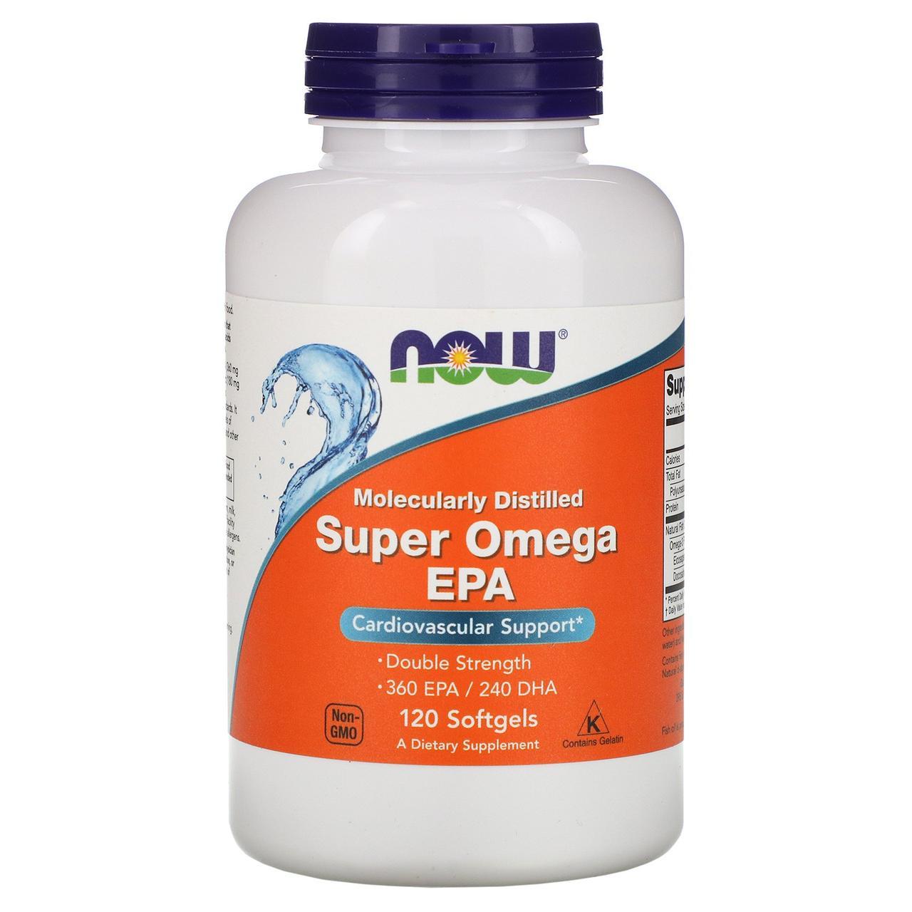 Супер Омега EPA для сердца, молекулярно дистиллирован,  Super Omega EPA, Now Foods, 120 капсул
