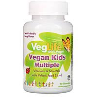 VegLife, Мультивитамины для детей растительного происхождения, вкус ягод, 60 жевательных таблеток
