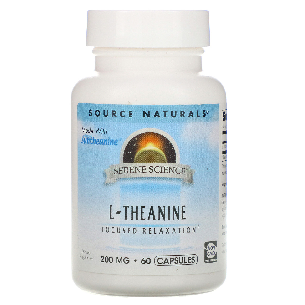 L-Теанін, L-Theanine, Source Naturals, 200 мг, 60 капсул