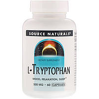 L-триптофан, L-Tryptophan, Source Naturals, 500 мг, 60 капсул
