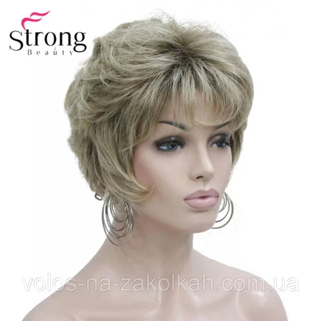 Парик короткая стрижка  блонд волна  парик стойка каре 1123# 60