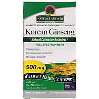 Nature's Answer, Корейский женьшень, 500 мг, 50 растительных капсул