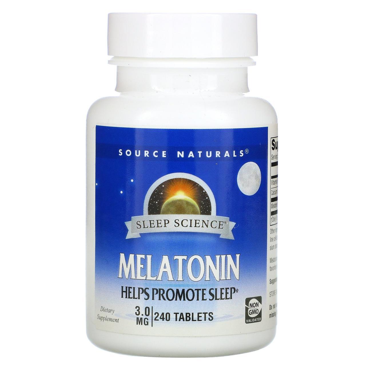 Мелатонин 3 мг, Source Naturals, 240 таблеток.