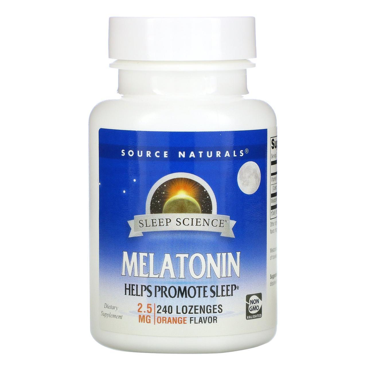 Мелатонин 2,5 мг (апельсин), Source Naturals, 240 таб.