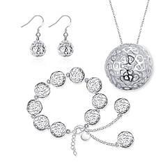 Модний жіночий комплект біжутерії (кольє, сережки, браслет) Срібні кулі покриття срібло 925