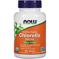 Хлорелла (Certified Organic Chlorella), Now Foods, 500 мг, 200 таблеток