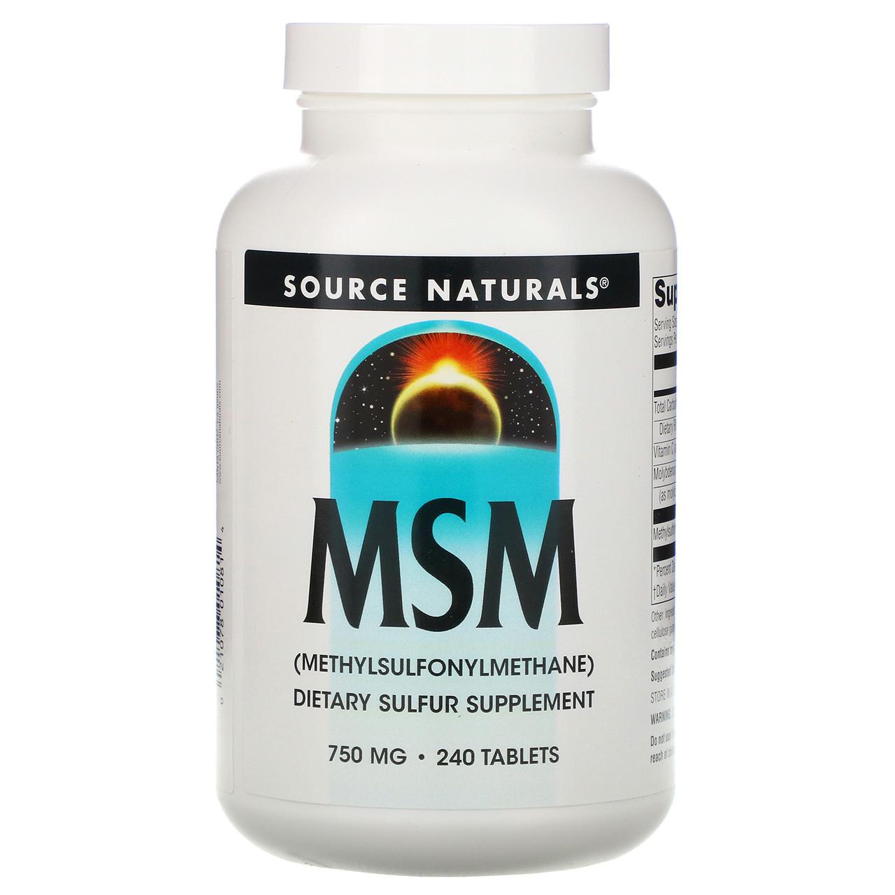 МСМ (метилсульфонилметан), Source Naturals, 240 таб.