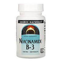 Ниацинамид (В3) 100 мг, Source Naturals, 250 таб.