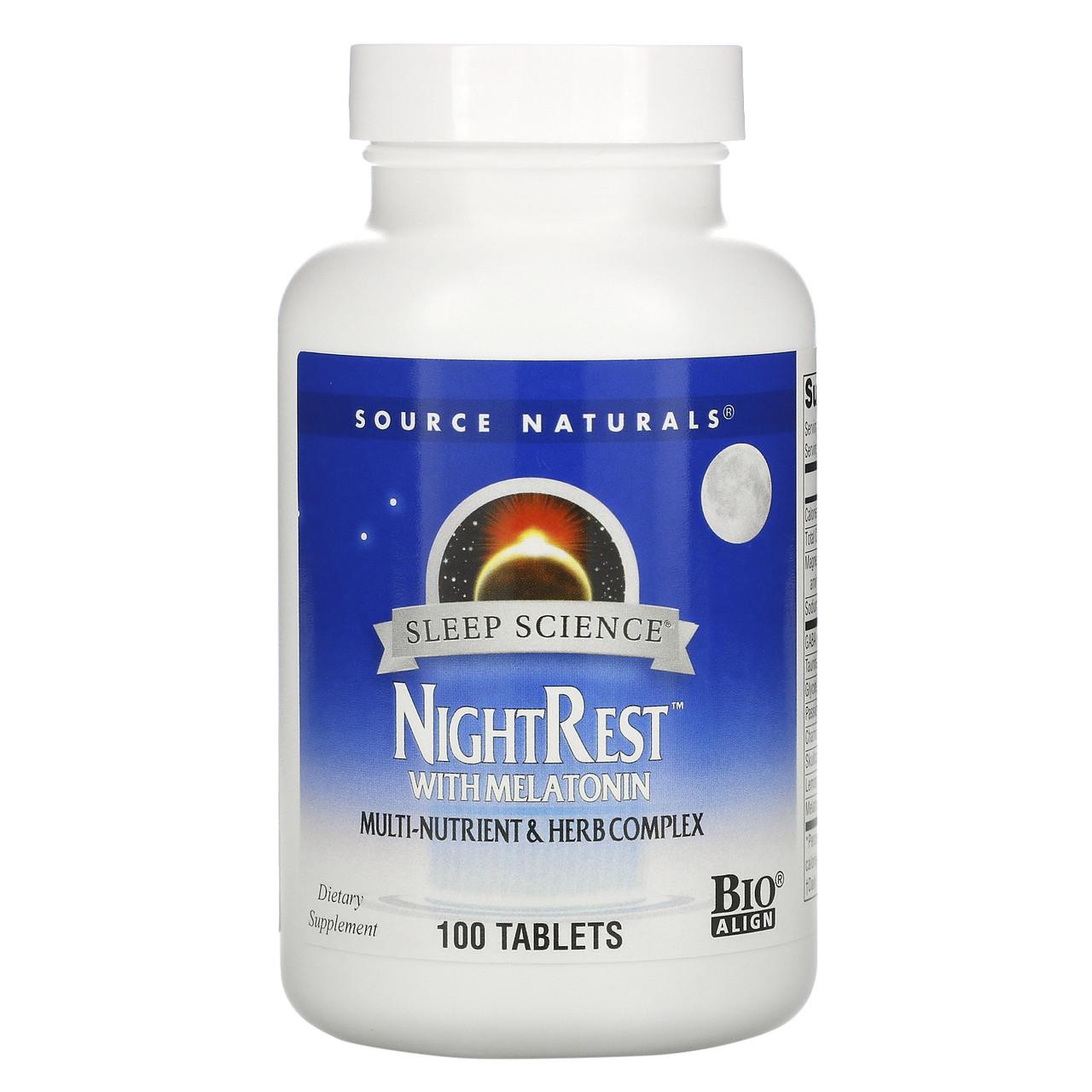 Снодійне з мелатоніном і ГАМК, Source Naturals, NightRest, 100 таблеток