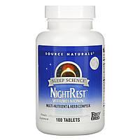 Снотворное с мелатонином и ГАМК, Source Naturals, NightRest, 100 таблеток