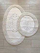 Набір м'яких овальних килимків для ванни з бавовни турецькі білі бавовняна основа