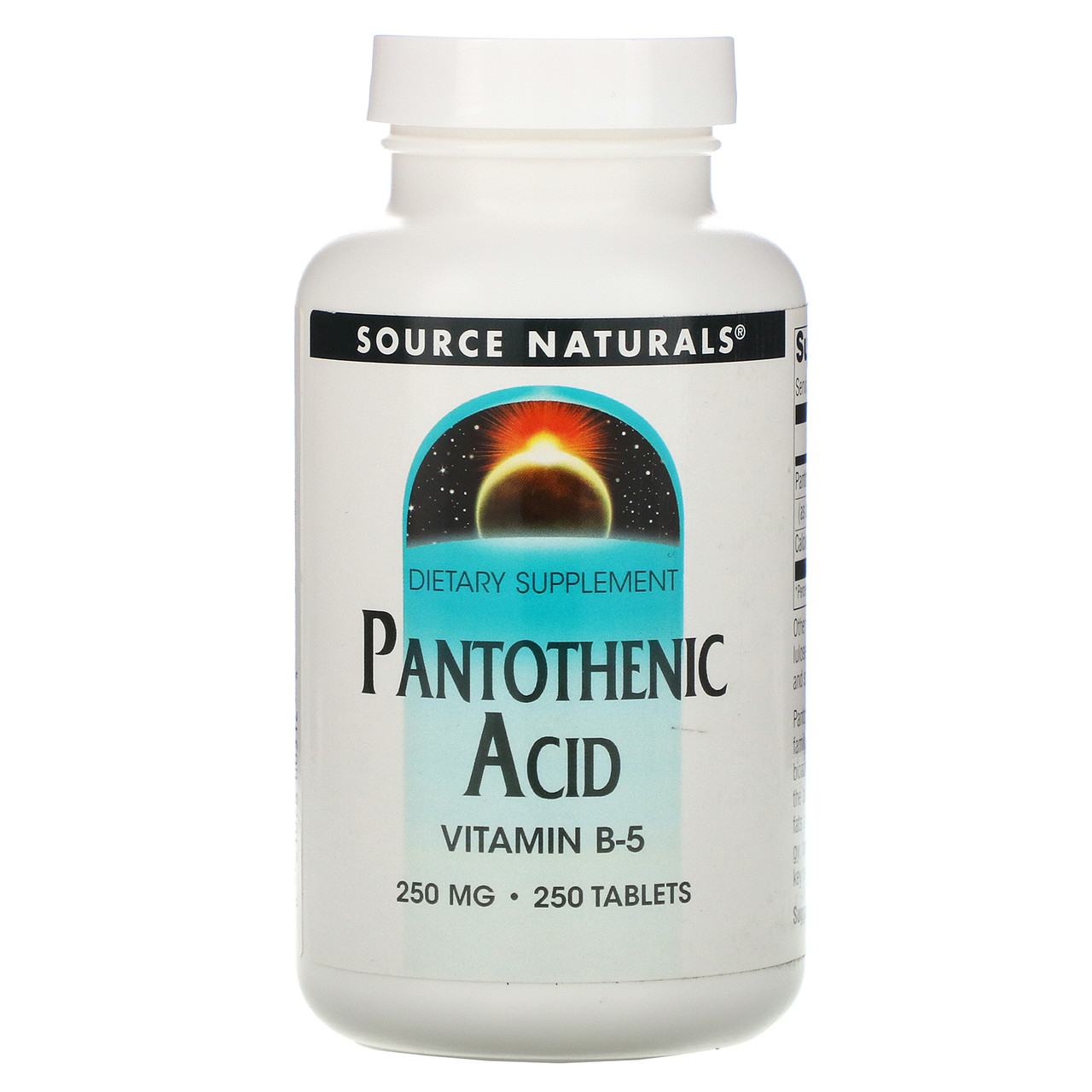 Пантотеновая кислота (Vitamin B-5), Source Naturals, 250 мг, 250 таб.