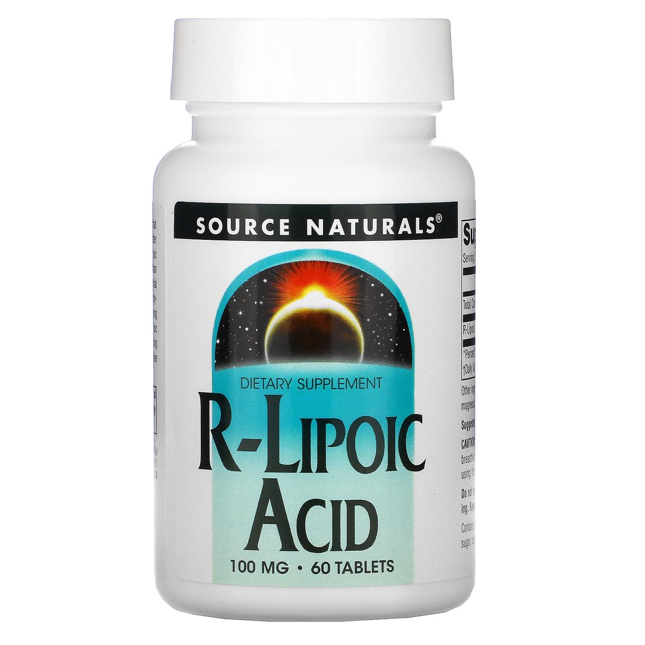R липоевая кислота, R-Lipoic Acid, Source Naturals, 100 мг, 60 таб.