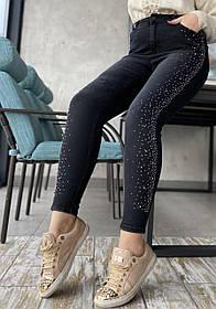 Джинсы в Камнях Черные Большого Размера, Женские джинсы батал, Облегающие джинсы