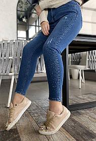 Джинсы в Камнях Синии Большого Размера, Женские джинсы батал, Облегающие джинсы