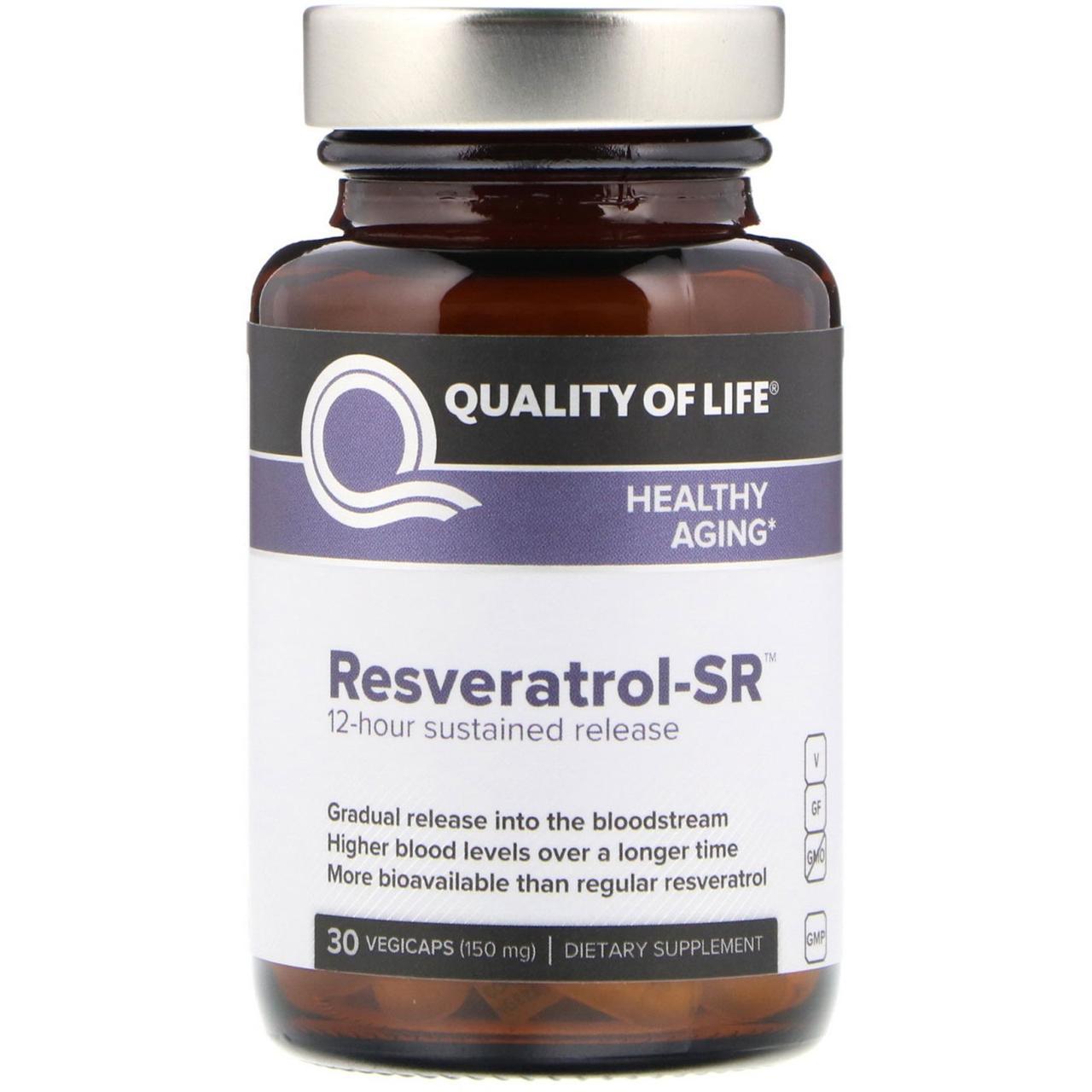 Ресвератрол-SR, Quality of Life Labs, 150 мг, 30 капсул