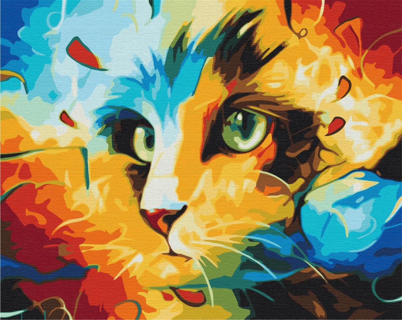 Кот в ярких красках
