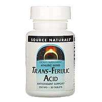 Транс-феруловая кислота, Trans-Ferulic Acid, Source Naturals, 250 мг, 30 таб.