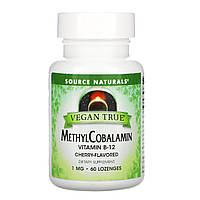 Витамин В12 (метилкобаламин) вишня, Source Naturals, 60 таб.