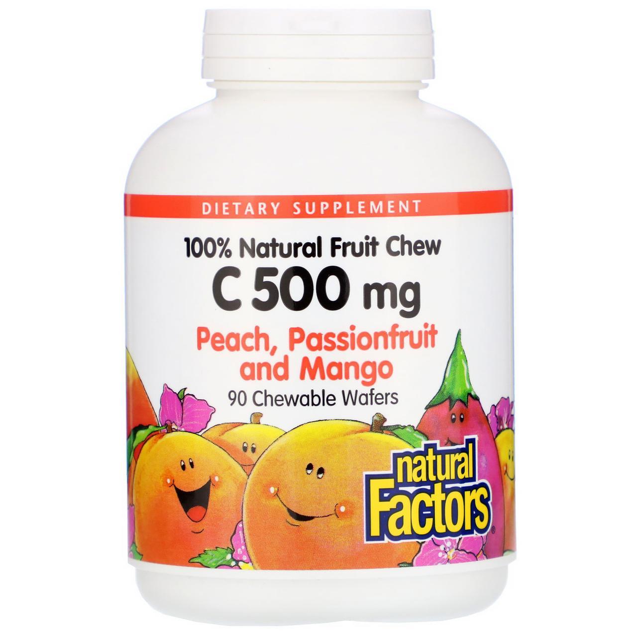 Natural Factors, Витамин C, персик, маракуйя и манго, 500 мг, 90 жевательных таблеток
