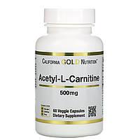 California Gold Nutrition, CGN, Спорт, ацетил-L-карнитин, 500 мг, 60 вегетарианских капсул
