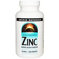 Цинк глюконат, Zinc, Source Naturals, 50 мг, 250 таб.