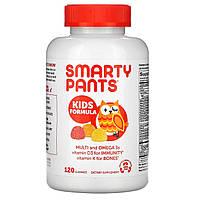 Комплекс для детей, мультивитамины, омега 3, витамин D, Multi + Omega 3 + Vitamin D, SmartyPants, 120 штук