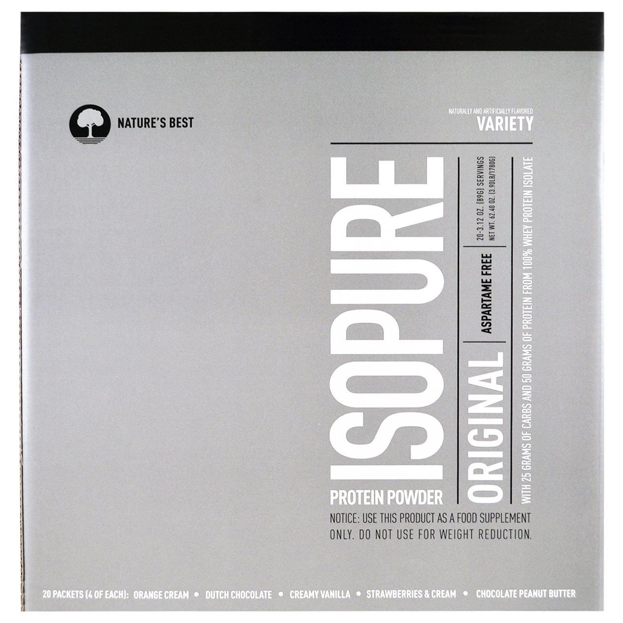 Nature's Best, IsoPure, Протеиновый порошок IsoPure Original, в ассортименте, 20 пакетиков по 89 г (3.12)