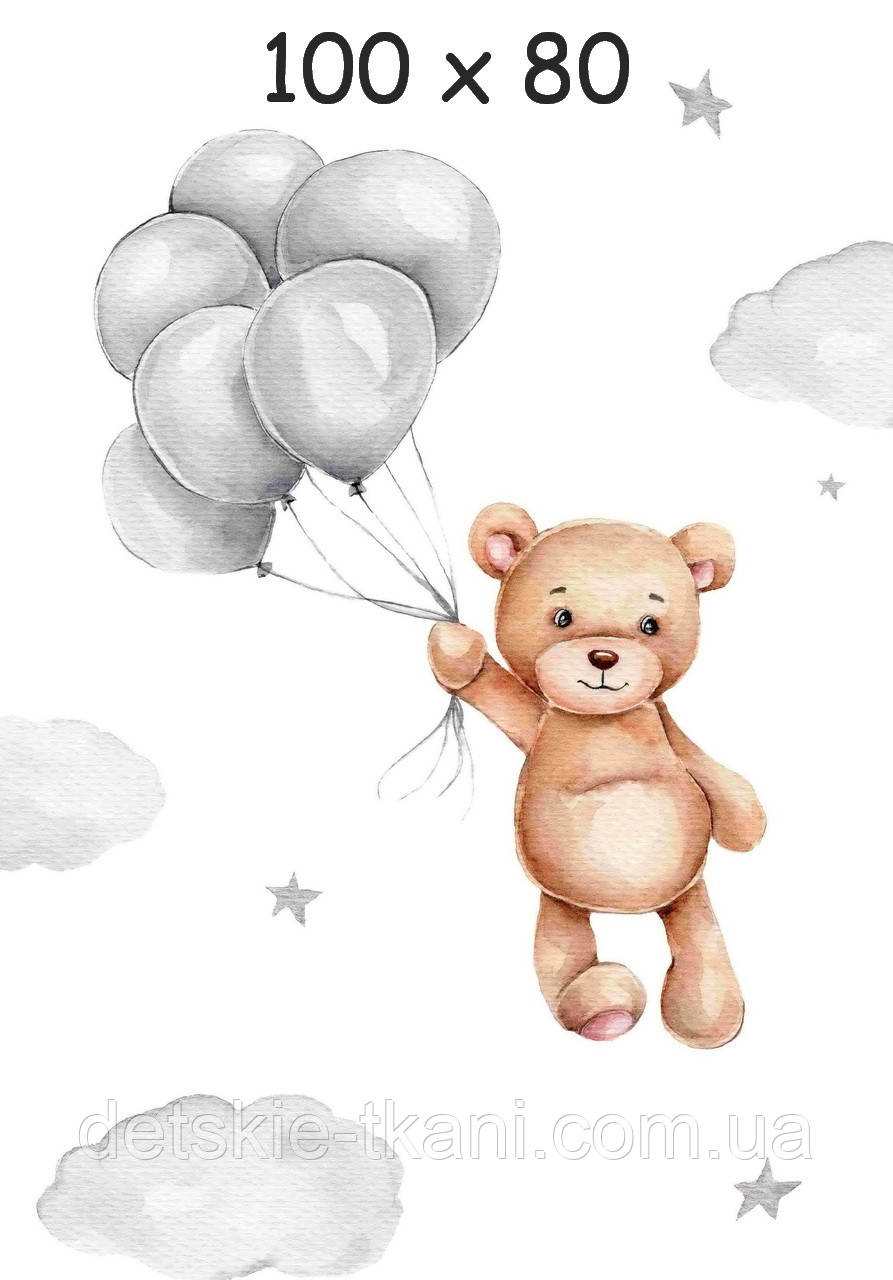 "Панелька з сатину для дитячого пледу ""Ведмедик з кульками"" 80*100 см"