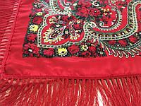 Хустина* в етнічному стилі з квітами та українським орнаментом колір червоний розмір 110*110 см