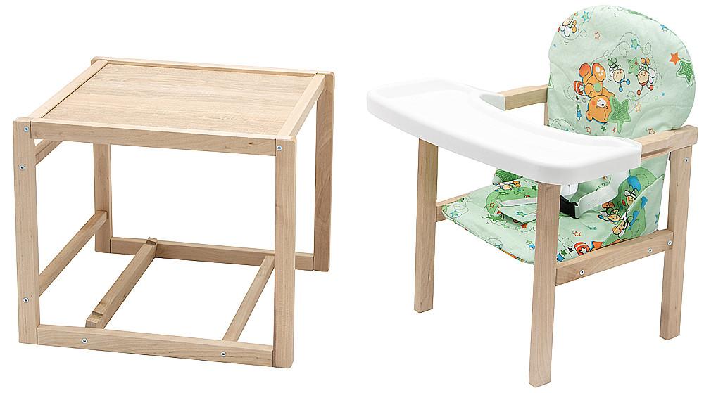 Стільчик - трансформер Babyroom Поні-230 eko без лаку пластикова стільниця зелений (ведмедики і бджілки)