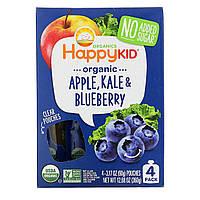 Nurture Inc. (Happy Baby), Happy Squeeze, органические суперпродукты, Twist, органические яблоко, капуста и голубика, 4 упаковки, 3,17 унции (90 г) в