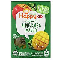 Nurture Inc. (Happy Baby), Happy Squeeze, органические суперпродукты, Twist, органические яблоко, капуста и манго, 4 упаковки, 3,17 унции (90 г) в