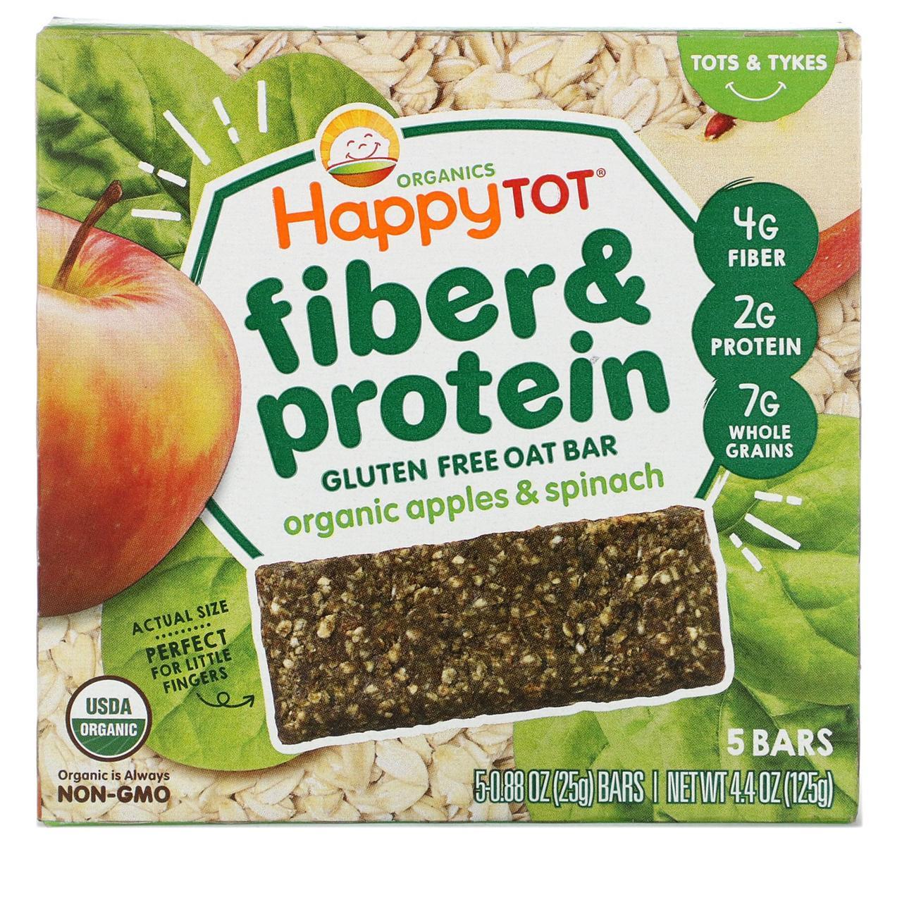 Nurture Inc. (Happy Baby), Happytot,  овсяной батончик с волокнами и протеином, органические яблоки и шпинат, 5 батончиков, 0,88 унции (25 г каждый)