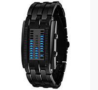 Женские стильные бинарные часы Skmei 0953 из нержавеющей стали черные
