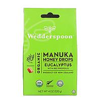 Wedderspoon, Органические Манука Мед капли, эвкалипт с прополисом, 4 унции (120 г)